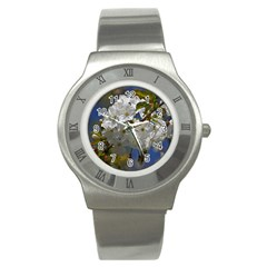 Cherry Blossom Stainless Steel Watch (Slim)