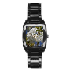 Cherry Blossom Stainless Steel Barrel Watch