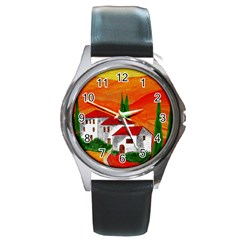 Mediteran Round Leather Watch (silver Rim)