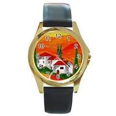 Mediteran Round Leather Watch (Gold Rim)