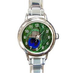 Peacock Round Italian Charm Watch
