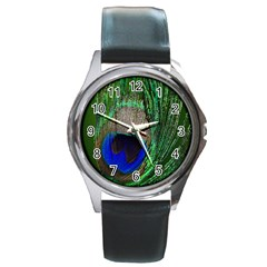 Peacock Round Leather Watch (Silver Rim)