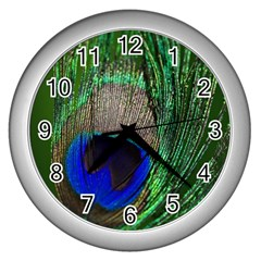 Peacock Wall Clock (Silver)