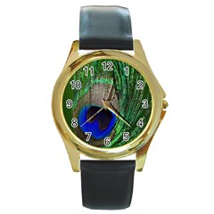 Peacock Round Leather Watch (gold Rim)