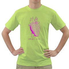 enjoy life Mens  T-shirt (Green)