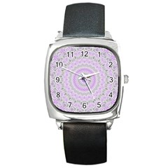 Mandala Square Leather Watch