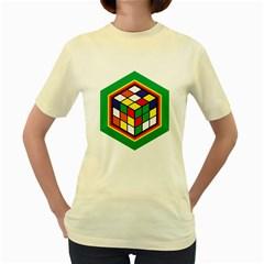 Rubik s Cube  Womens  T-shirt (Yellow)