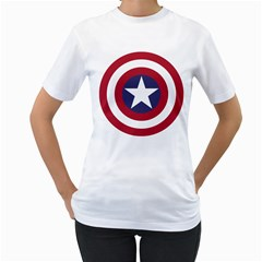 Captain  murica Womens  T Shirt (white)