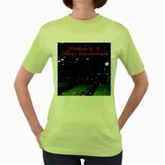 Walking In A Winter Wonderland Womens  T-shirt (Green)