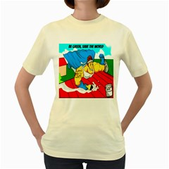 Captain Energy Saver: Be Green, Save The World!  Womens  T Shirt (yellow)