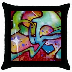 Graffity Black Throw Pillow Case