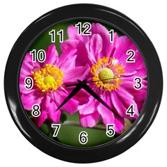 Flower Wall Clock (black)