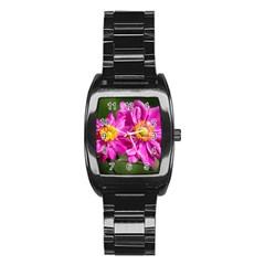 Flower Stainless Steel Barrel Watch