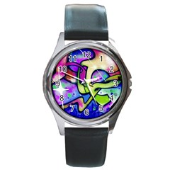 Graffity Round Leather Watch (Silver Rim)