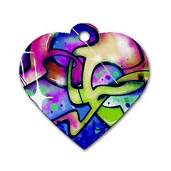 Graffity Dog Tag Heart (one Sided)
