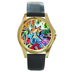 Graffity Round Leather Watch (Gold Rim)
