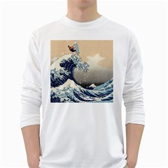 Surferthebigwave Mens' Long Sleeve T-shirt (White)