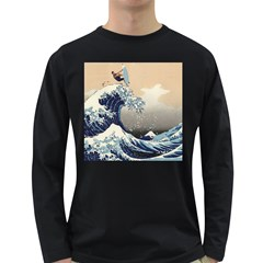 Surferthebigwave Mens' Long Sleeve T Shirt (dark Colored)