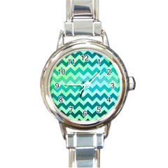 Chevron Round Italian Charm Watch