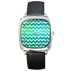 Chevron Square Leather Watch