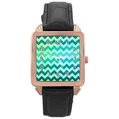 Chevron Rose Gold Leather Watch