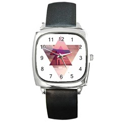 Triangles Square Leather Watch