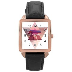 Triangles Rose Gold Leather Watch