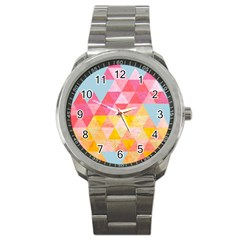 Pastel Triangles Sport Metal Watch