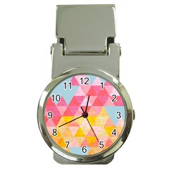 Pastel Triangles Money Clip With Watch