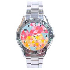 Pastel Triangles Stainless Steel Watch
