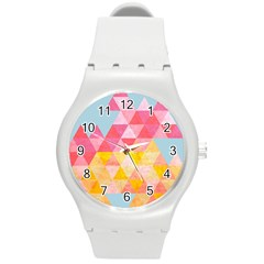 Pastel Triangles Plastic Sport Watch (Medium)