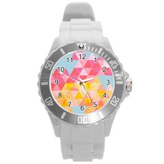 Pastel Triangles Plastic Sport Watch (large)