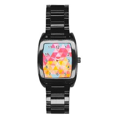 Pastel Triangles Stainless Steel Barrel Watch