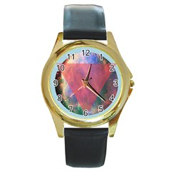 Cosmic Circle Round Leather Watch (Gold Rim)