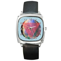 Cosmic Circle Square Leather Watch