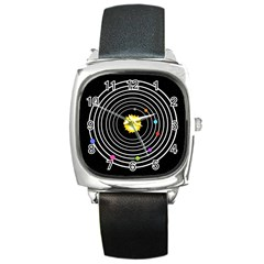 Solar System Square Leather Watch
