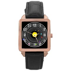 Solar System Rose Gold Leather Watch