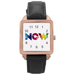Time Is    Rose Gold Leather Watch
