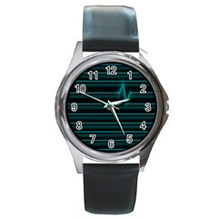 I m Alive Round Leather Watch (silver Rim)