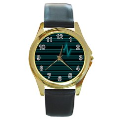 I m Alive Round Leather Watch (Gold Rim)