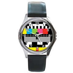 Test Pattern Round Leather Watch (silver Rim)