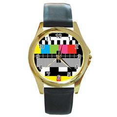 Test Pattern Round Leather Watch (Gold Rim)