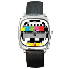Test Pattern Square Leather Watch