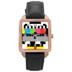 Test Pattern Rose Gold Leather Watch