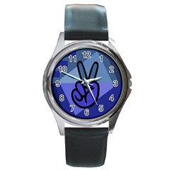 Peace Round Leather Watch (Silver Rim)