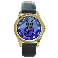 Peace Round Leather Watch (gold Rim)