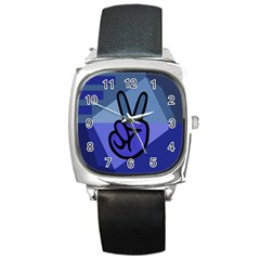 Peace Square Leather Watch