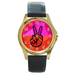 Love Peace Round Leather Watch (Gold Rim)