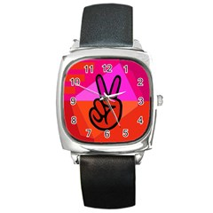 Love Peace Square Leather Watch