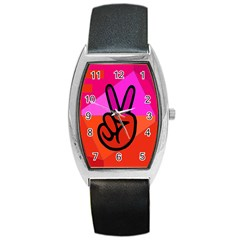 Love Peace Tonneau Leather Watch
